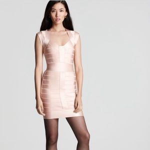 French Connection gold sparkle bandage dress